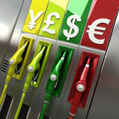 Gas pumps with currency symbols — Stock Photo