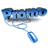 Online Promo in blue — Stock Photo