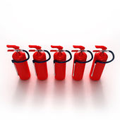 Line of fire extinguishers — Stock Photo