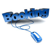 Online booking blue — Stock Photo