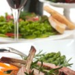 Lamb Chop and Salad - Stock Photo