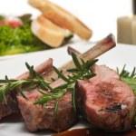 Lamb Chop and Salad — Stock Photo