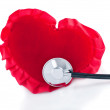 Red heart and stethoscope — Stock Photo