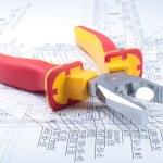 Pliers Tools on diagram — Stock Photo