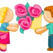 Man giving woman bouquet of flowers — Stock Photo