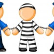 Police officers holds prisoner — Stock Photo