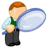 Man with big magnifying glass looks for — Stock Photo