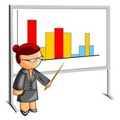 Teacher pointing to a histogram — Stock Photo