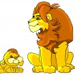 Father lion and his little son — Stock Photo
