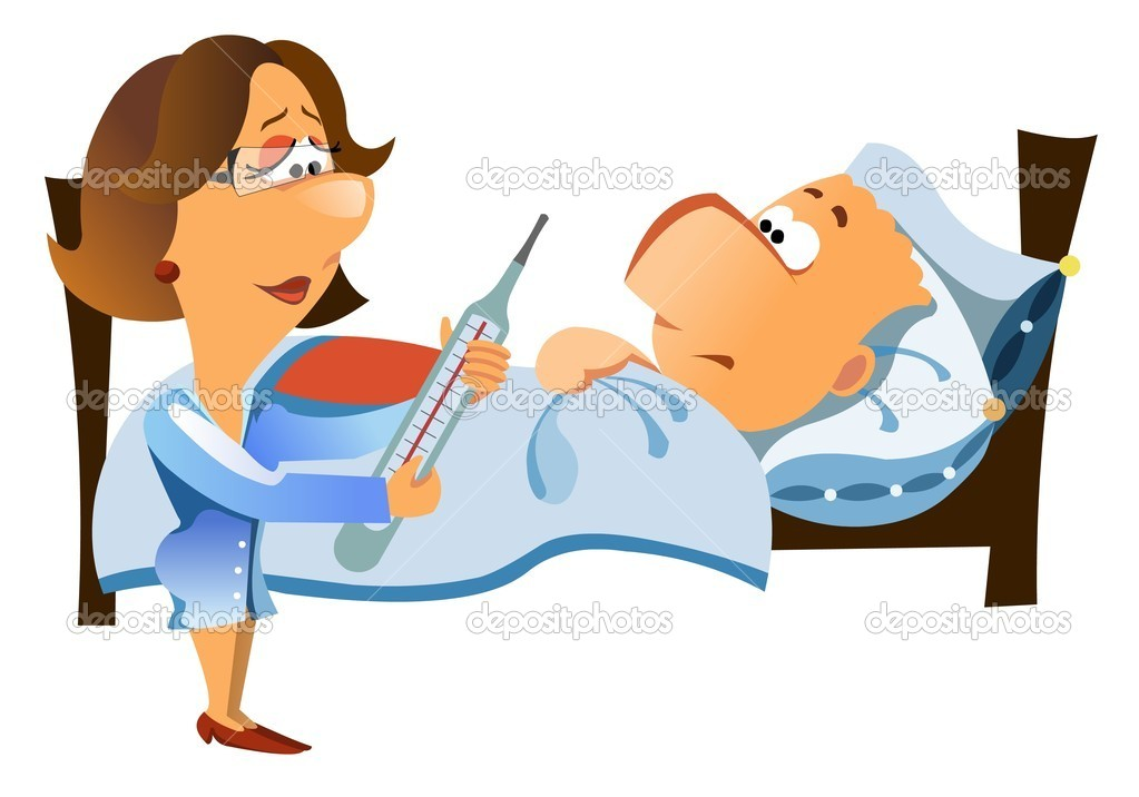 Illustration of worried doctor woman looking at a thermometer and a patient with a fever lying on the bed, isolated on white background. — Stock Photo #3052216