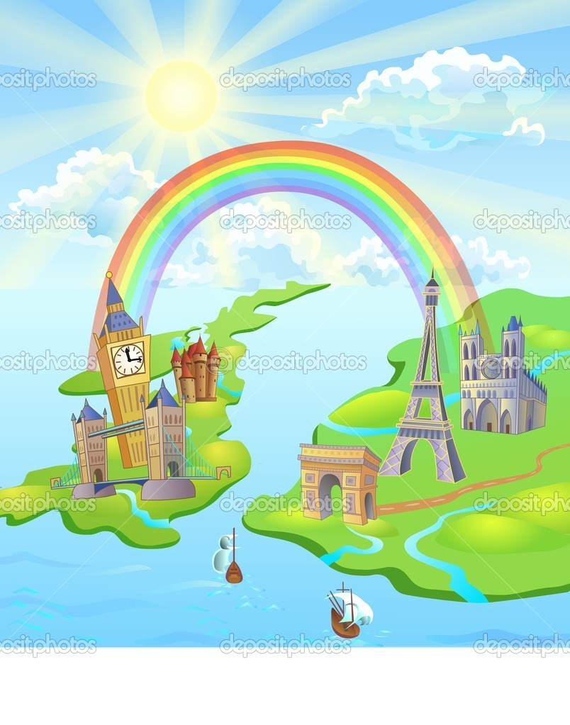 Colorful illustration. Rainbow between England and Europe. The sun is shining. Famous european and english landmarks on the picture.  Stock Photo #3083949