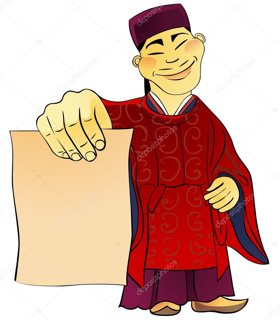 Asian man dressed in a kimono holds in hand a blank sheet of paper, template for any oriental cuisine restaurant menu. — Stock Photo #3084509