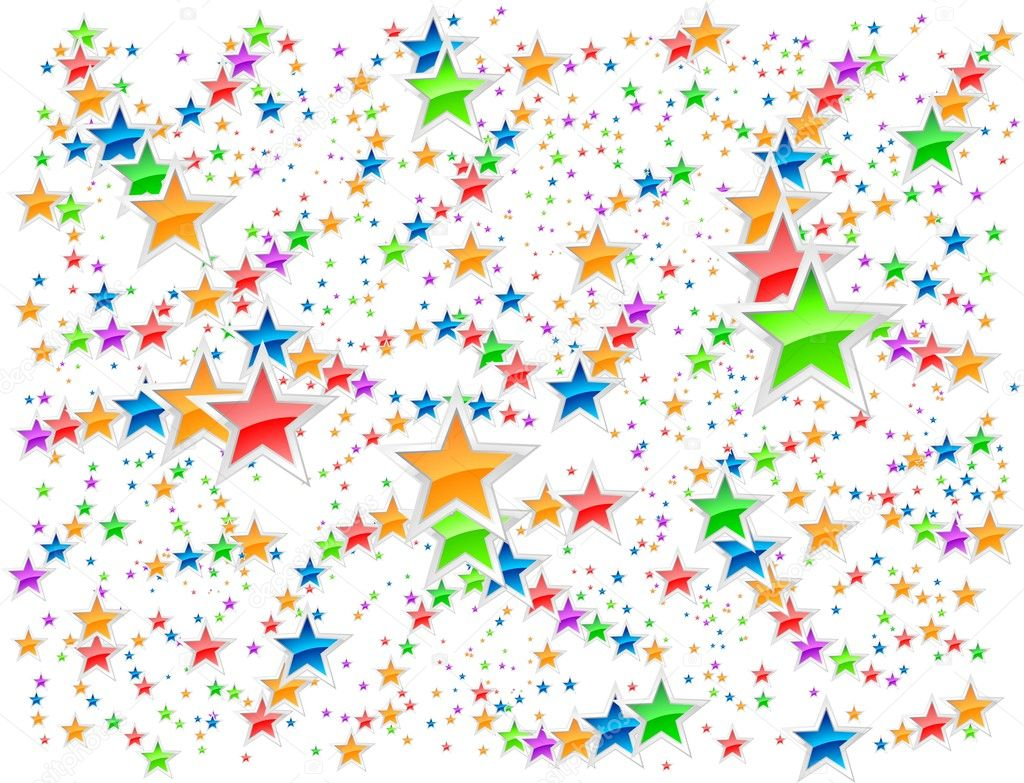 Multicolored stars on white. Perfect background for birthday card.  Stock Vector #3143589