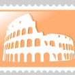 Colosseum Amphitheater. Postage Stamp. - Stock Photo