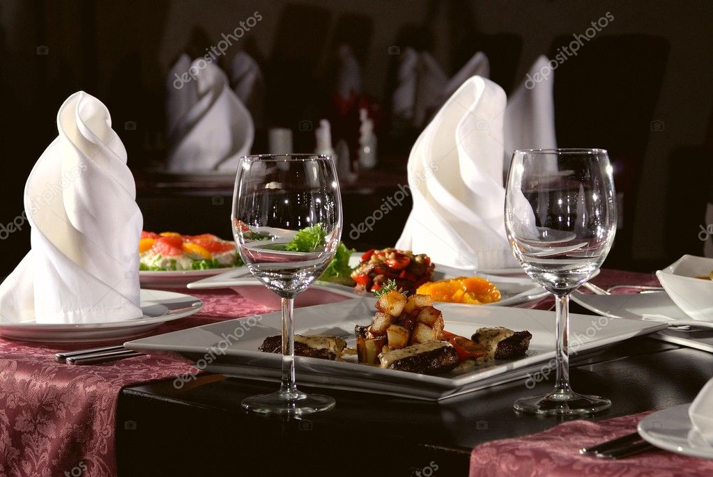 Table laid for dinner in modern restorant  Foto de Stock   #3153865