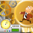 Businessman is running inside machinery — Stockfoto