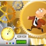 zakenman wordt uitgevoerd binnen machines — Stockfoto