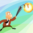 Businessman jumping at the clock - Stok fotoraf