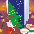 Santa Claus painting greeting card — Stock Photo