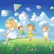 Happy children flying kites. - Stock Photo