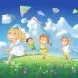 Happy children flying kites. — Stock Photo