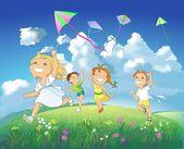 Crianças felizes, pipas. — Foto Stock
