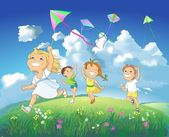 Happy children flying kites. — Стоковое фото