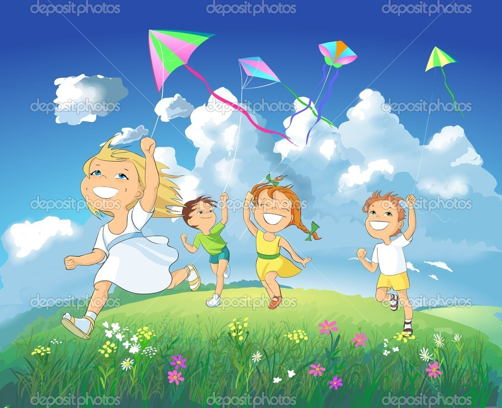 Colorful illustration. Boys and girls flying kites in the meadow on a blue sky background. — Stock Photo #3483668