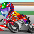 Racing motorcyclist — Stock Photo