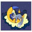 Stock Photo: Cute kitten sleeping on the moon.