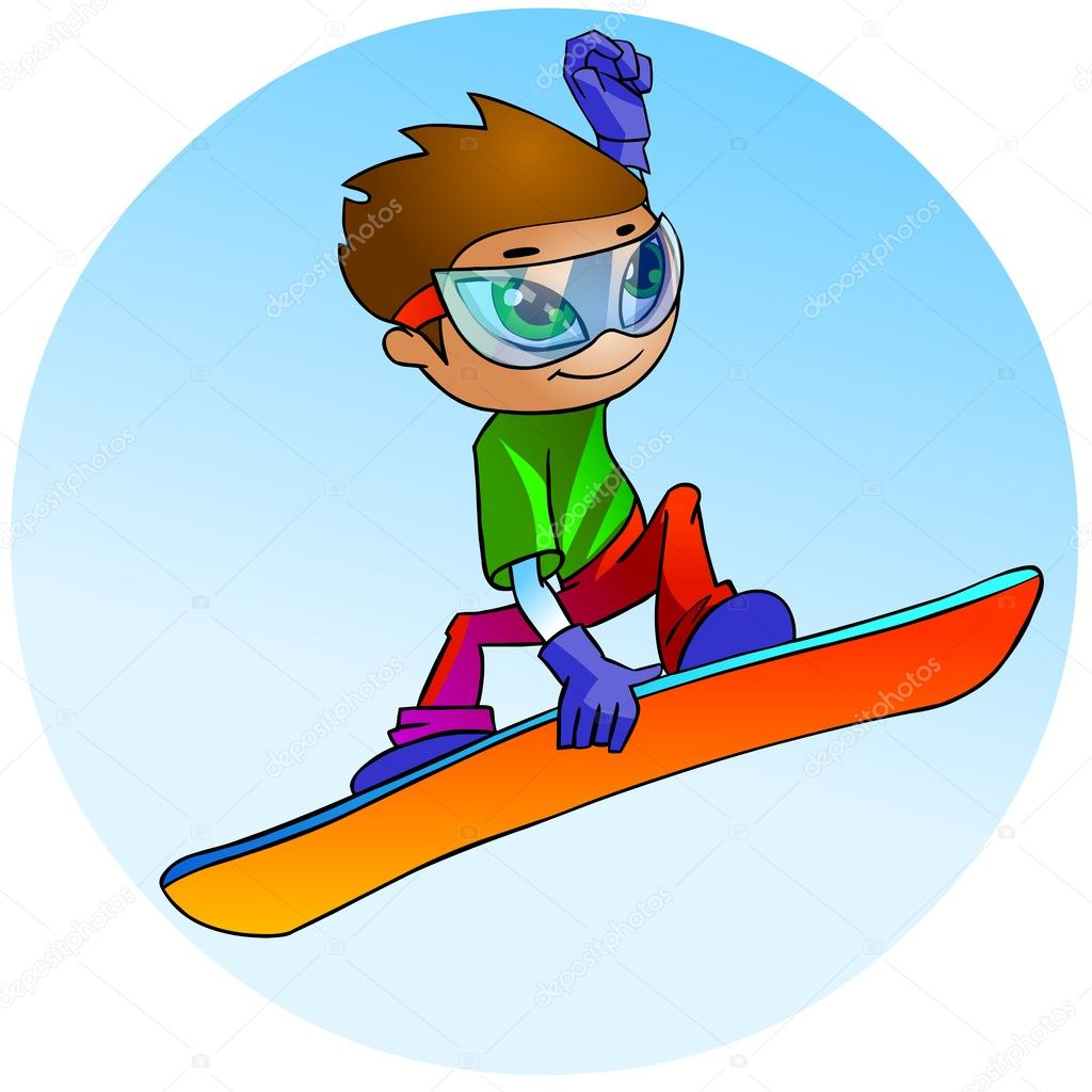 Cartoon illustration.  Snowboarder jumping against blue sky. — Stock Photo #3572021