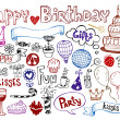 SET OF BIRTHDAY DOODLES. - Imagens vectoriais em stock