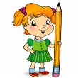 Girl holding a pencil — Stock Vector
