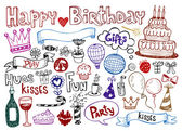 Conjunto de aniversário doodles. — Vetorial Stock