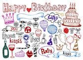 Set di compleanno doodles. — Vettoriale Stock