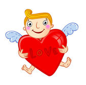 Cupid with heart. — Stock Vector