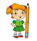 Menina segurando um lápis — Vetor de Stock