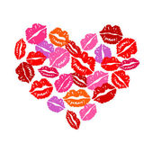 Corazón de besos — Vector de stock