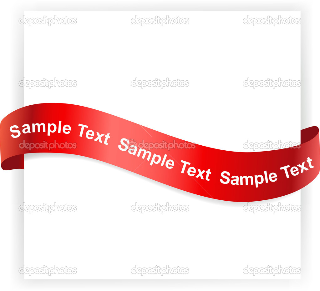 White banner with red ribbon on it — Stock Vector #2806028