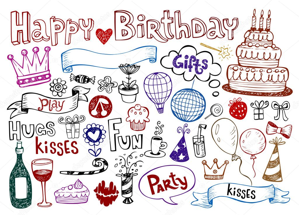 Set of Birthday doodles. Vector illustration. — Stock Vector #2806106