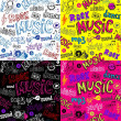 Seamless Sketchy music backgrounds - Stock Vector