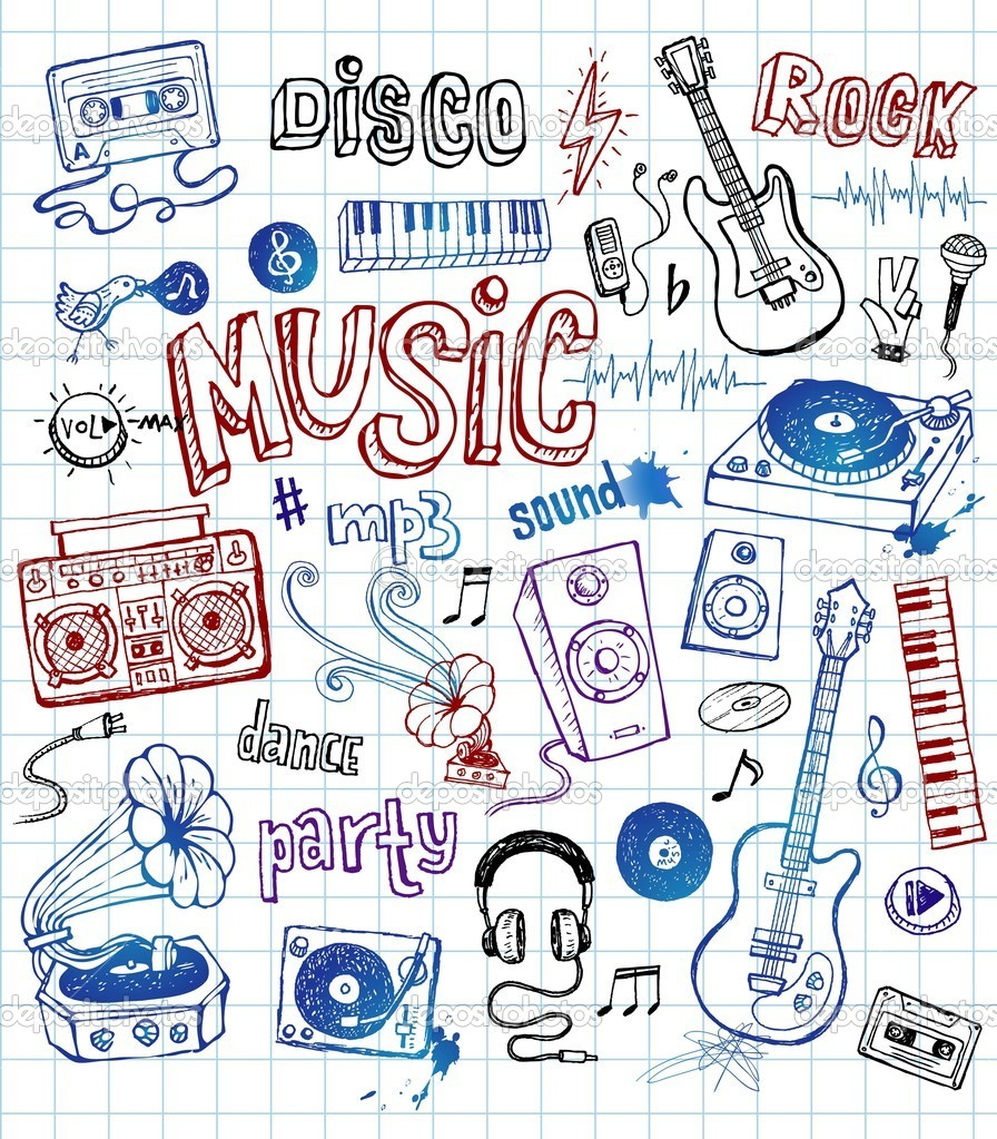 Vector illustration of sketchy music icons — Stock Vector #2811616
