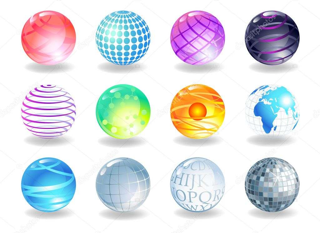 Spheres of different style, vector image. — Stock Vector #2811829