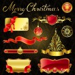 CHRISTMAS GOLDEN DESIGN ELEMENTS. — Stock Vector