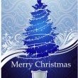 Stock Vector: SILVER-BLUE CHRISTMAS TREE