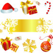 RED AND GOLD CHRISTMAS SET - Stock Vector