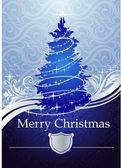 SILVER-BLUE CHRISTMAS TREE — Stock Vector