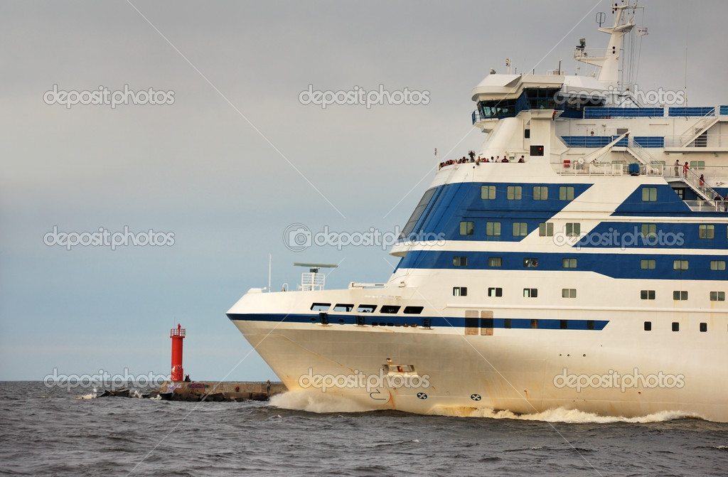 The passenger liner comes up in the sea from port of Riga.  Stock Photo #2770603