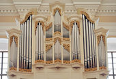 Organ inside of the St. Casimir's Church in Vilnius, Lithuania. — Stockfoto