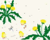 Chickens and dandelions — Stock Vector